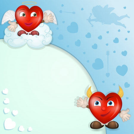 Cartoon hearts with cupid