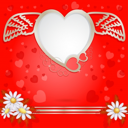 Golden heart with wings and flower