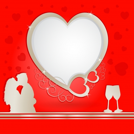 Golden heart frame with lovers and champagne Illustration