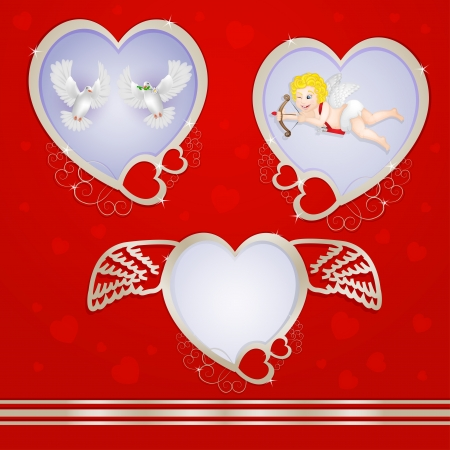 Golden heart frames with pigeons and cupid Vector