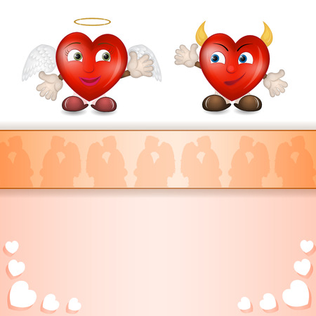 Cartoon hearts with lovers silhouette