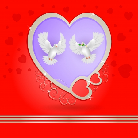 Two white pigeons with golden heart Vector