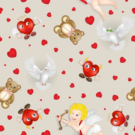 Pattern with cupid and pigeon over hearts background