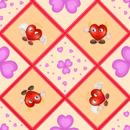 Pattern with cartoon hearts  Vector