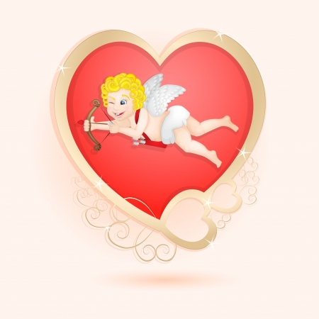 Golden heart with cupid isolated  Vector