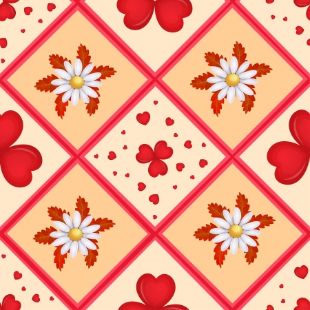 Pattern with cartoon hearts and flower  Vector