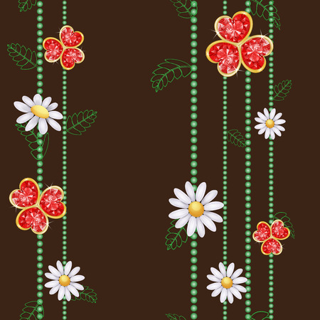 Pattern with flowers and red diamond hearts Vector