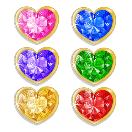 Diamond hearts with different colors  Vector