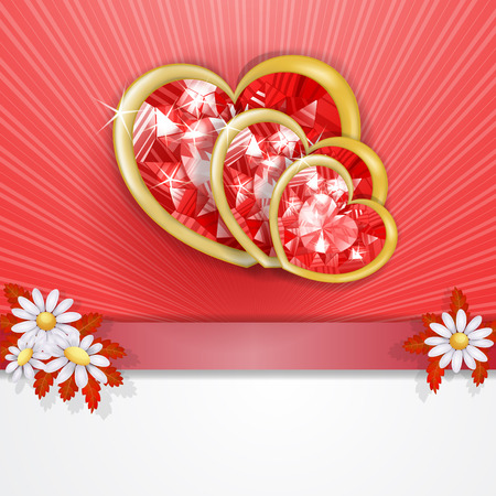 Three diamond hearts card  Vector