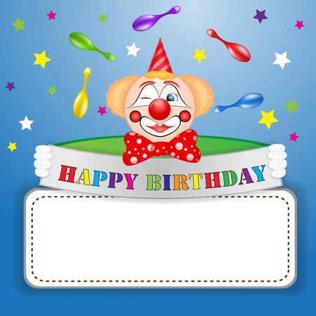Funny clown over star background Vector