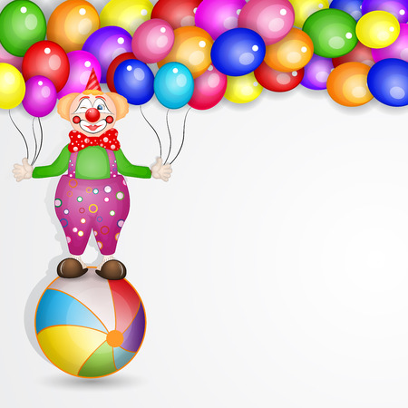 Clown on the ball with balloons Vector