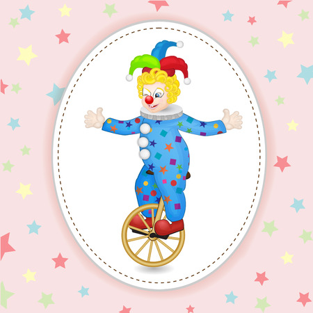 unicycle: Funny clown with unicycle over star background