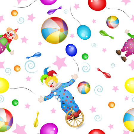 Pattern with funny clowns and toys