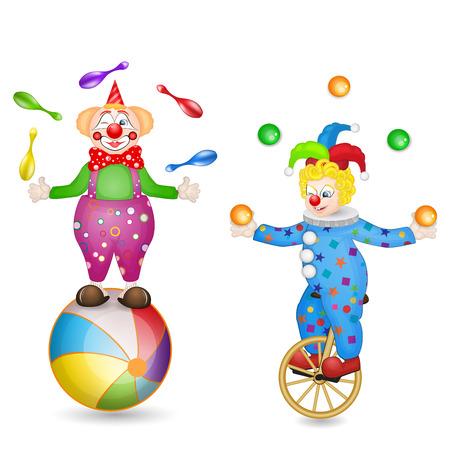 Zwei Clowns mit Kugel und Einrad Standard-Bild - 26009013