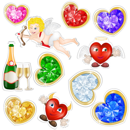 Valentines elements stickers  Vector