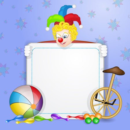 Clown with ball and unicycle Vector