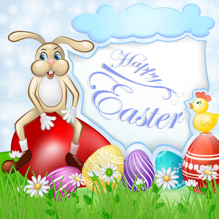 Easter card with bunny and chicken over egg background Illustration