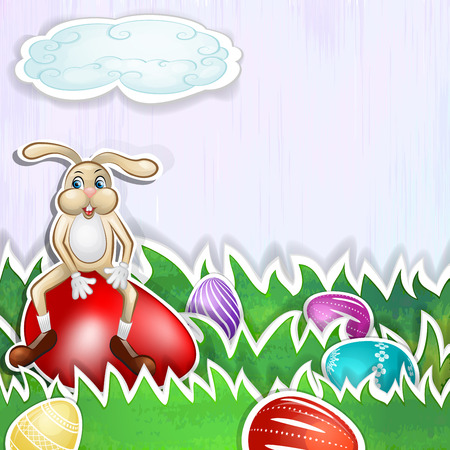 Happy bunny with Easter eggs card