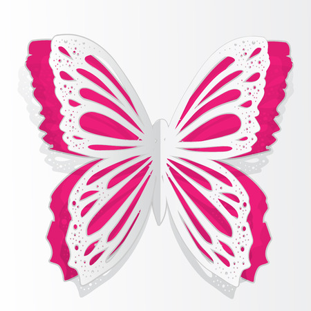 Greeting card with paper butterfly Illustration