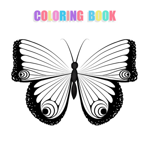 Coloring book with butterflies  Vector