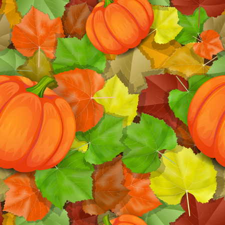 Autumn leaves pattern with pumpkins Vector
