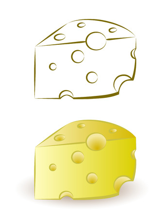 porous: piece of yellow porous cheese food with holes Illustration