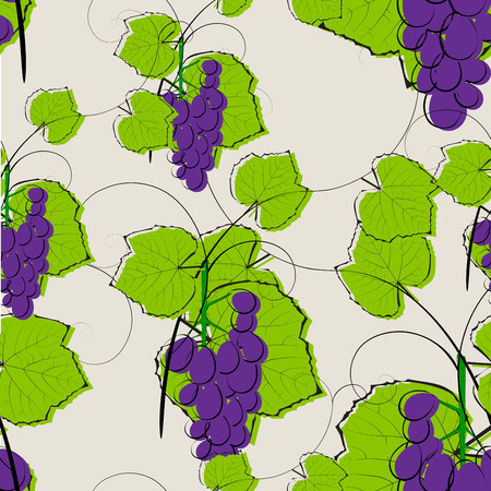 Seamless pattern with watercolor illustration of grapes with leaves  Vector