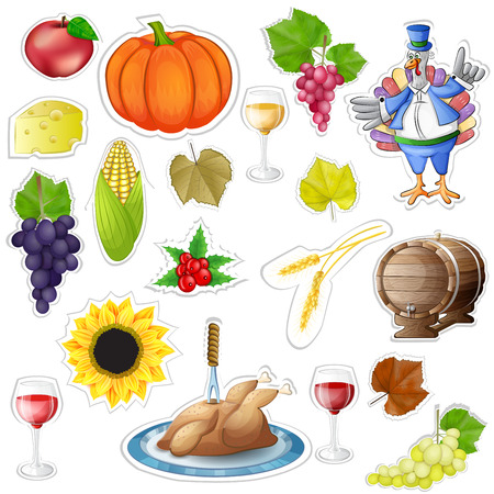 Thanksgiving stickers elements Vector