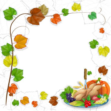 thanksgiving feast: illustration of turkey, fruits and wine in Thanksgiving dinner Illustration