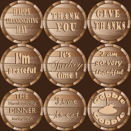 Thanksgiving Frame Barrel Stickers Set Pattern Vector