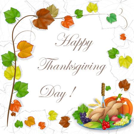 illustration of turkey, fruits and wine in Thanksgiving dinner Illustration