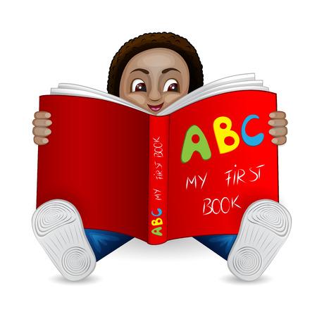jardin de infantes: Ilustraci�n de un ni�o negro leyendo un libro