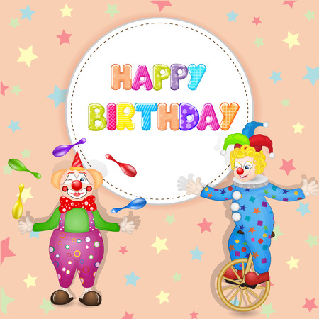 Happy birthday greetings. Cute happy birthday card with fun clowns Vector