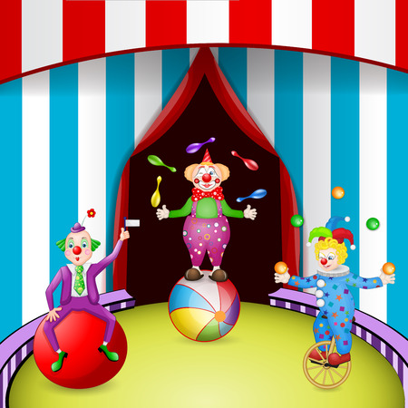 Funny clowns at the circus festival