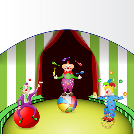 Funny clowns at the circus festival  Vector