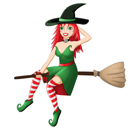 Beautiful red haired witch flying on a broomstick isolated on white background