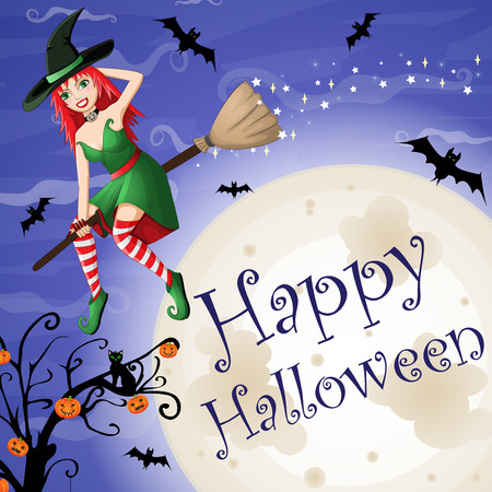 bewitched: Halloween card with red-haired witch flying over moon Illustration