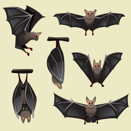 Set of spooky Halloween bats  Иллюстрация