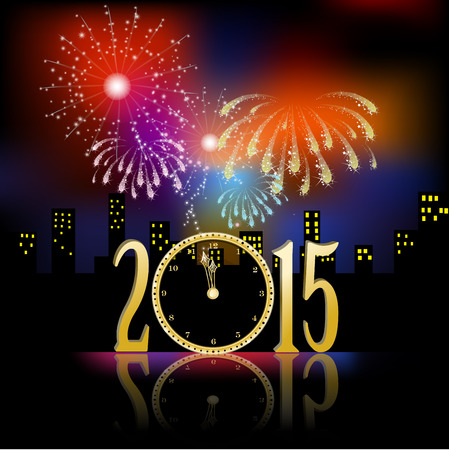Fireworks for new year with clock