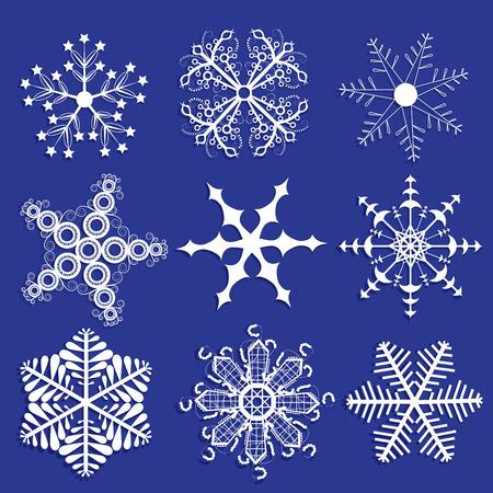 Snowflakes collection. Ornamental snowflakes.