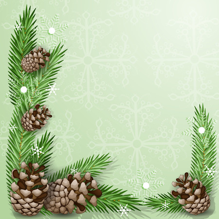 Pine cone with branch and snowflakes Иллюстрация