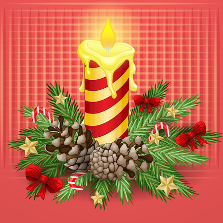 waxen: Christmas background with burning candle