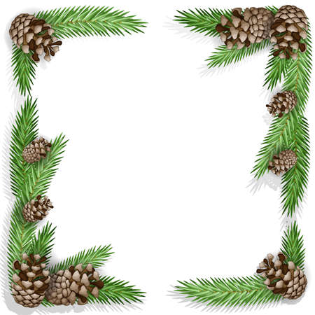Pine cone with branch and snowflakes Vector