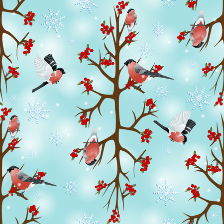 Seamless background with bullfinches sitting on branch Illustration