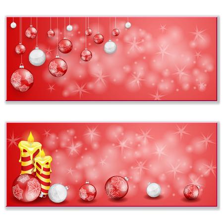 Christmas card with Christmas balls and candles Illustration