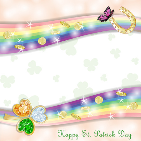 st  patrick s day: St. Patrick s Day card design with coins and clover