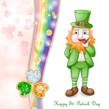 patric: St. Patrick s Day card design with coins and clover