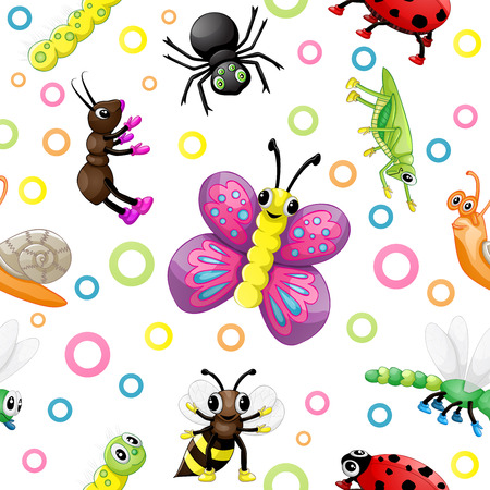 Cute cartoon insects pattern Vector