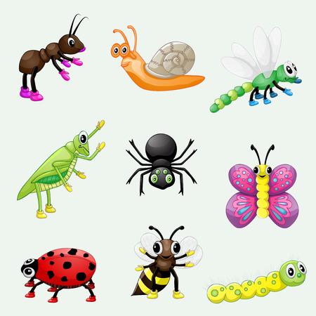 hormiga caricatura: Conjunto de insectos lindos de la historieta Vectores