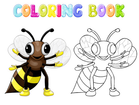 Coloring bee Vector